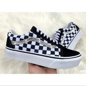 ⚡️Custom Bling Checkered Platform Vans⚡️